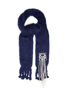 Loewe Anagram-logo fringed mohair-blend scarf