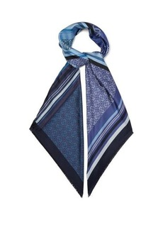 Loewe Anagram patchwork-print silk-twill scarf