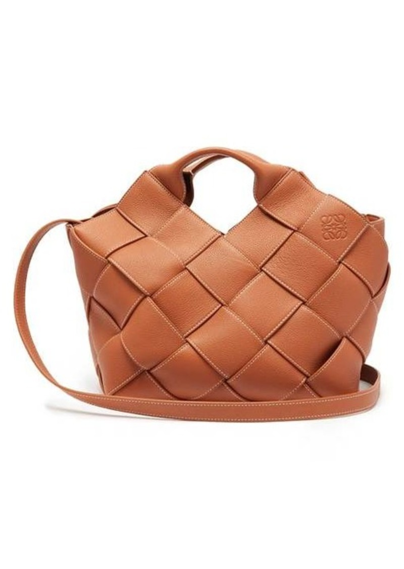 Loewe Anagram small woven-leather tote bag