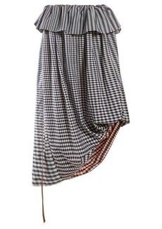Loewe Asymmetric gingham cotton-twill midi skirt