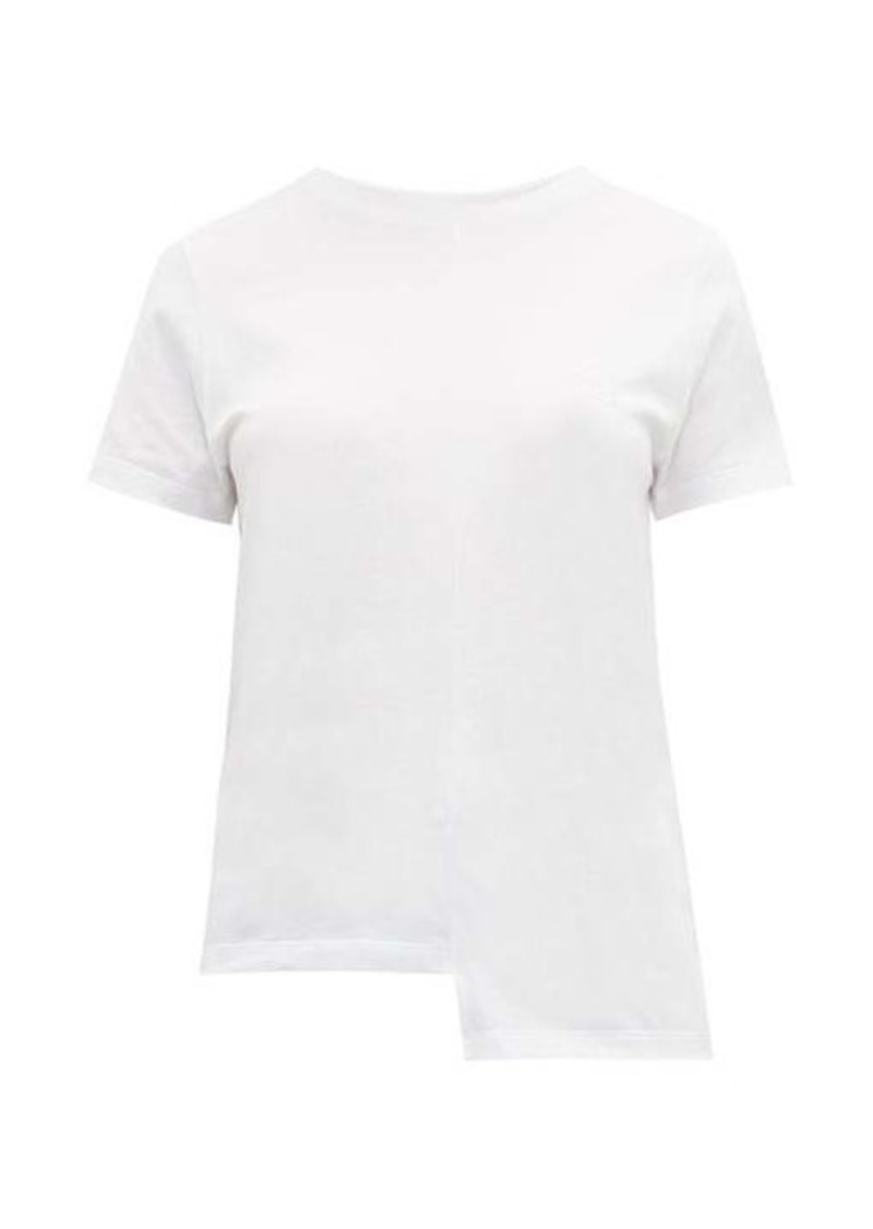 Loewe Asymmetric-hem logo-embroidered cotton T-shirt