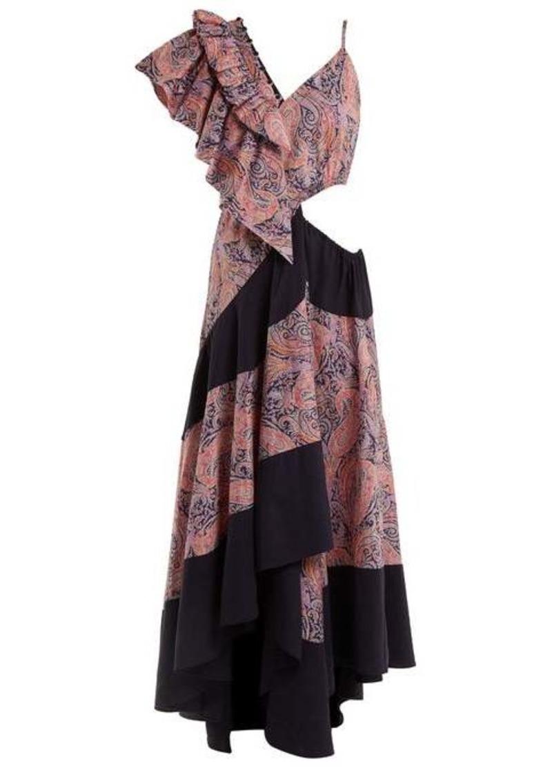Loewe Asymmetric paisley-print cotton dress