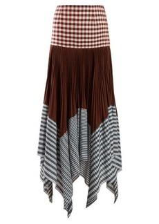 Loewe Asymmetric pleated gingham handkerchief skirt
