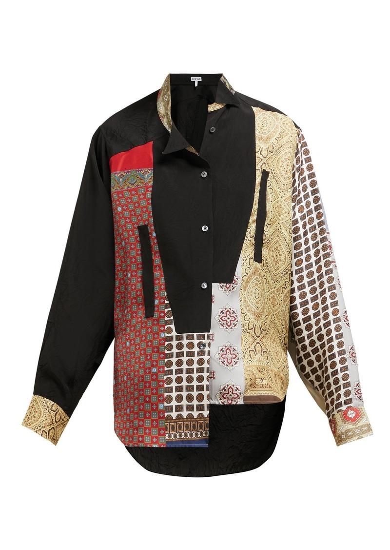 f6b3a32b482 Loewe Loewe Asymmetric silk scarf-patchwork blouse | Casual Shirts