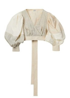 Loewe Balloon-sleeve cropped cotton-blend poplin top
