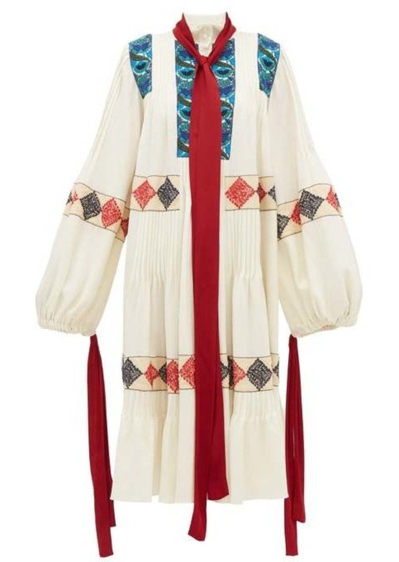 Loewe Balloon-sleeve floral-embroidered wool dress