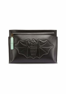 Loewe Bat-Embroidered Leather T Pouch  Black