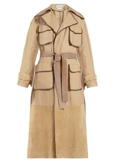 Loewe Belted linen-blend canvas and suede trench coat
