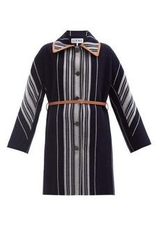 Loewe Belted striped wool-blend coat