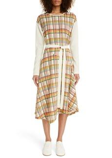 Loewe Check Wool Long Sleeve Midi Dress