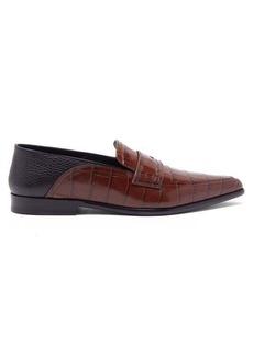 Loewe Collapsible-heel crocodile-effect leather loafers