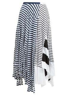 Loewe Contrasting stripe-print cotton-blend skirt