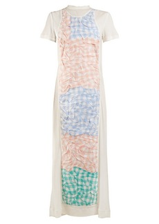 Loewe Crinkled-gingham panel dress