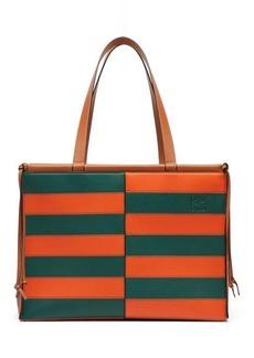 Loewe Cushion large striped-leather tote bag