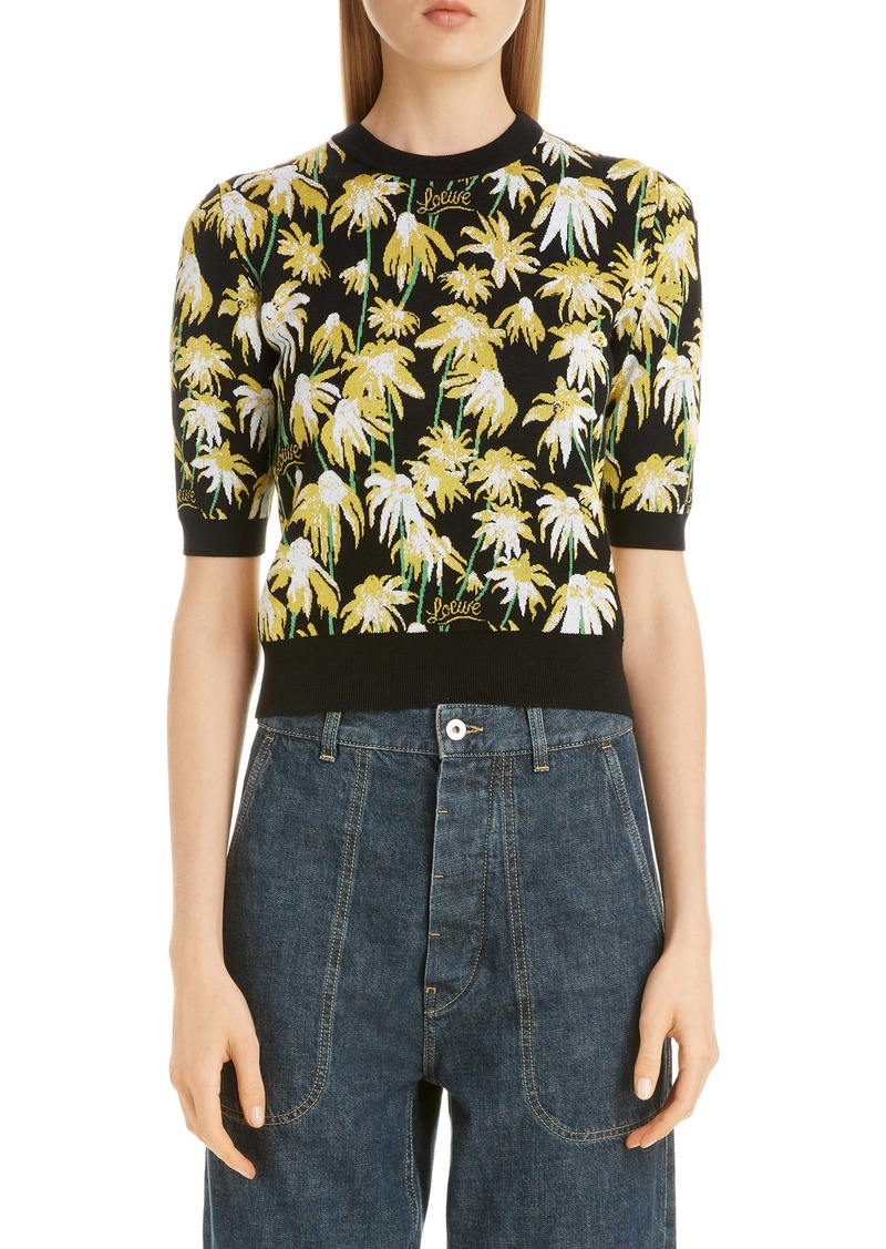 Loewe Daisy Jacquard Crop Sweater