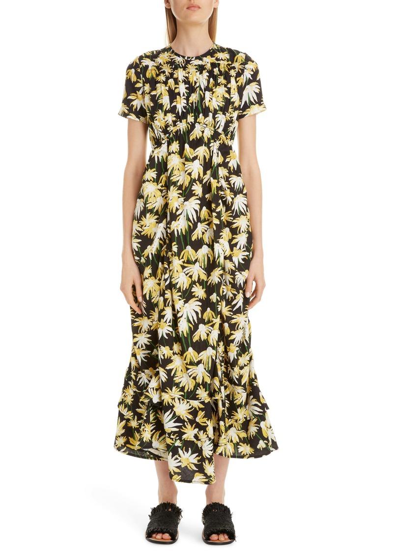 Loewe Daisy Print Gathered Cotton Midi Dress