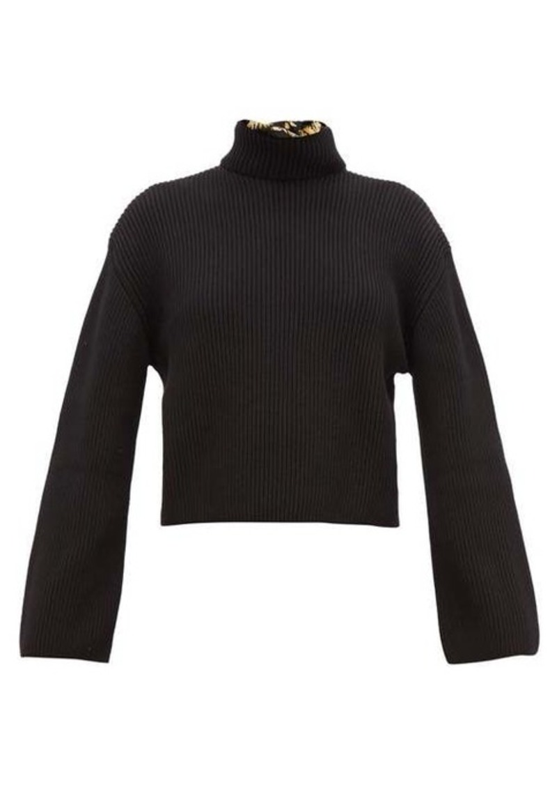 Loewe Daisy-print silk scarf ribbed-cotton sweater