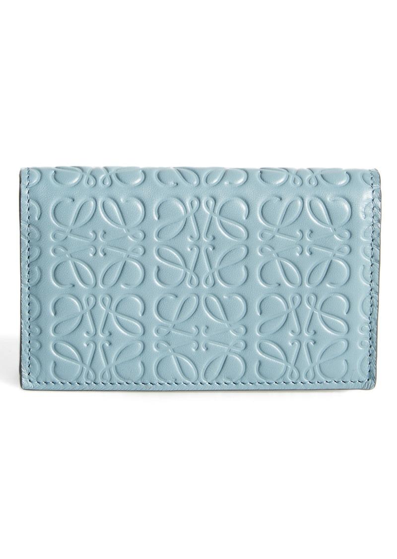 Loewe Loewe Debossed Calfskin Leather Business Card Holder ...
