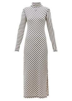 Loewe Diagonal-striped high-neck jersey midi dress