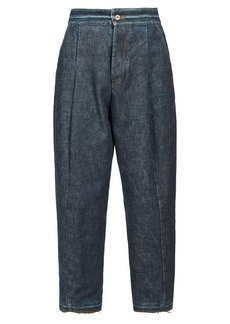 Loewe Distressed high-rise wide-leg jeans