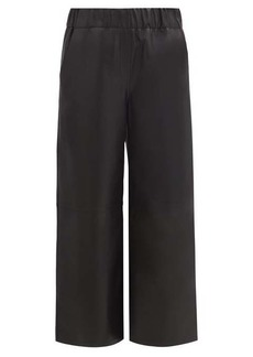 Loewe Elasticated leather wide-leg trousers