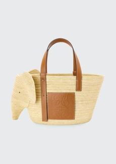 Loewe Elephant Raffia Basket Tote Bag