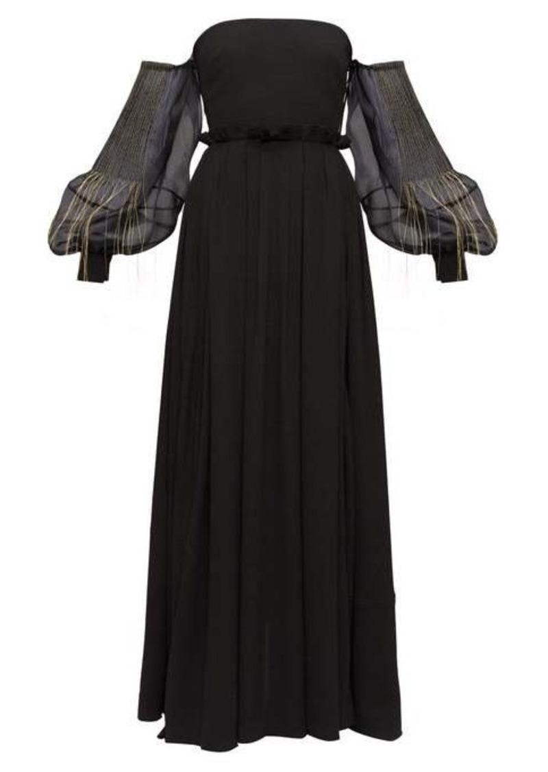 Loewe Embroidered Bardot balloon-sleeve crepe dress