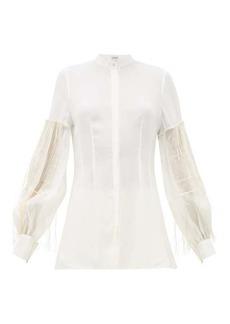 Loewe Embroidered pleated-sleeve crepe blouse