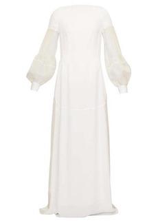 Loewe Embroidered pleated-sleeve open-back crepe dress