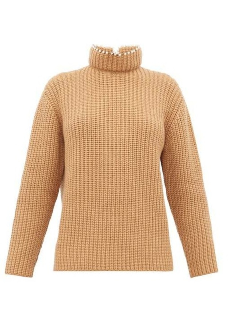 Loewe Faux pearl-embellished high-neck cashmere sweater