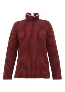Loewe Faux pearl-neck ribbed cashmere sweater