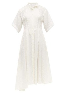 Loewe Feather-jacquard asymmetric satin midi dress