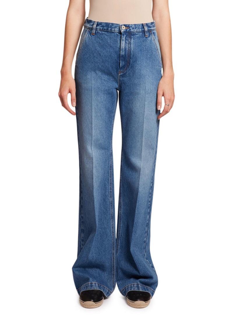 Loewe Flared High-Rise Washed Denim Jeans