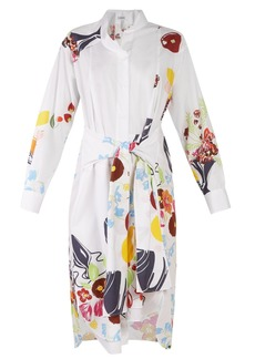 Loewe Floral and fruit-print tie-waist cotton shirtdress