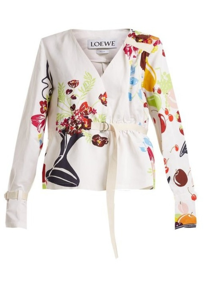 Loewe Floral and fruit-print tie-waist jacket