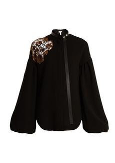 Loewe Floral-lace embellished bell-sleeved crepe top