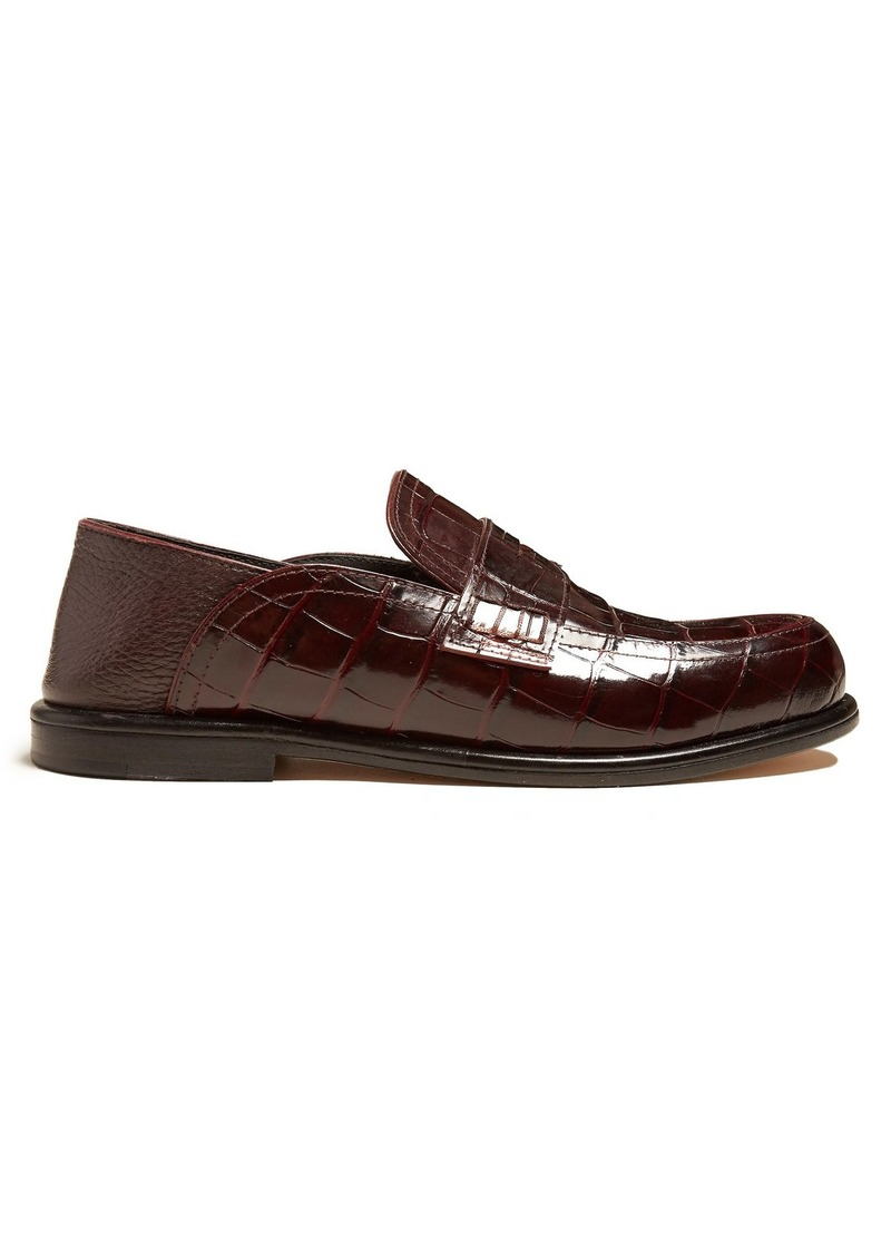 701c588faac Loewe Loewe Foldable-heel crocodile-effect leather loafers