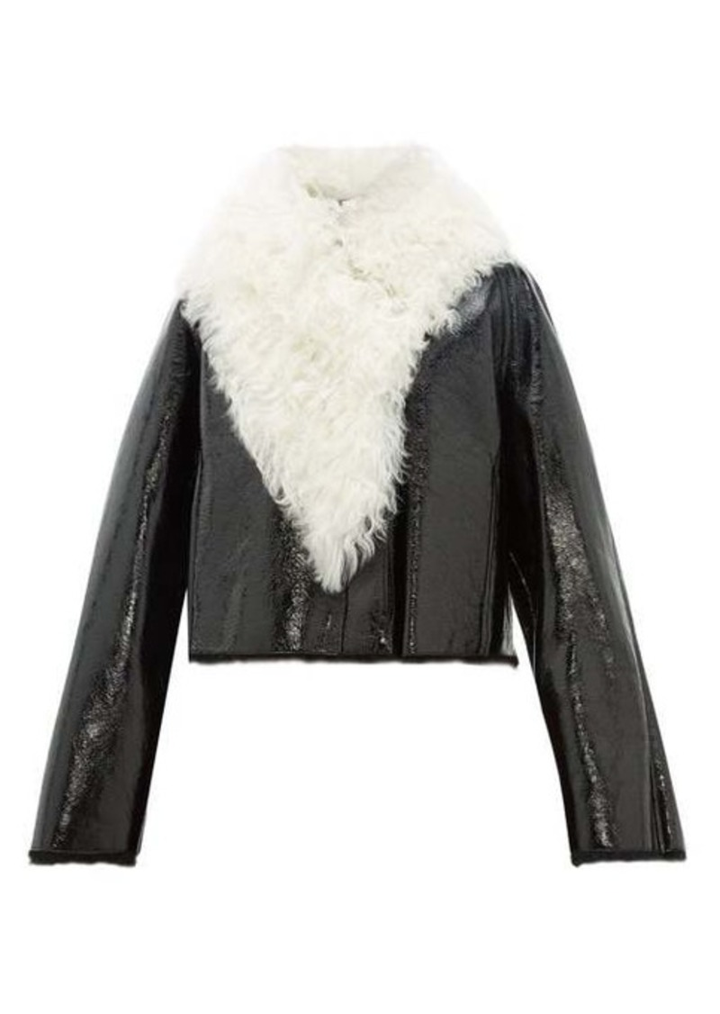 Loewe Shearling-trimmed cropped leather jacket