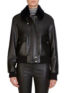 Loewe Fur-Trim Leather Aviator Bomber Jacket