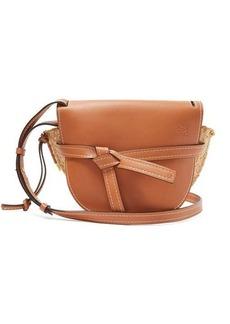 Loewe Gate leather and raffia cross-body bag