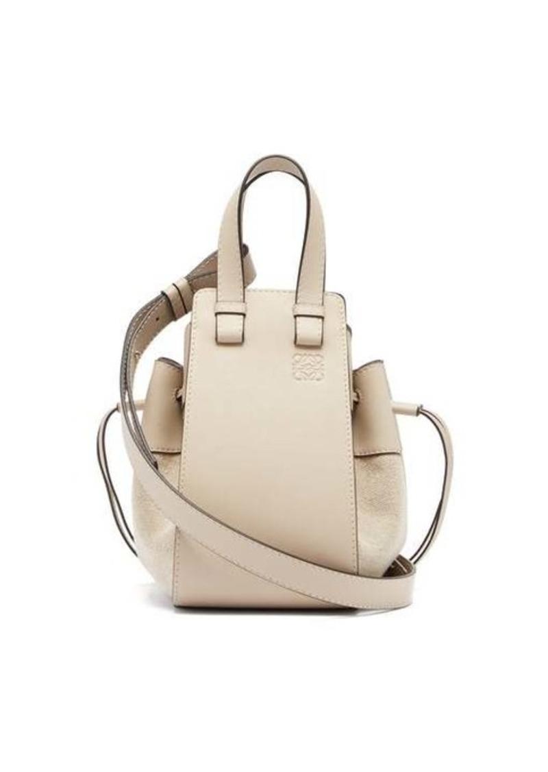 Loewe Hammock mini linen-panel leather bag