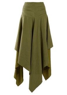Loewe Handkerchief-hem linen and crepe skirt