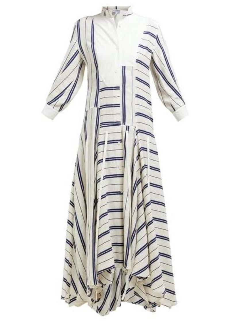 Loewe Handkerchief-hem striped linen-blend midi dress