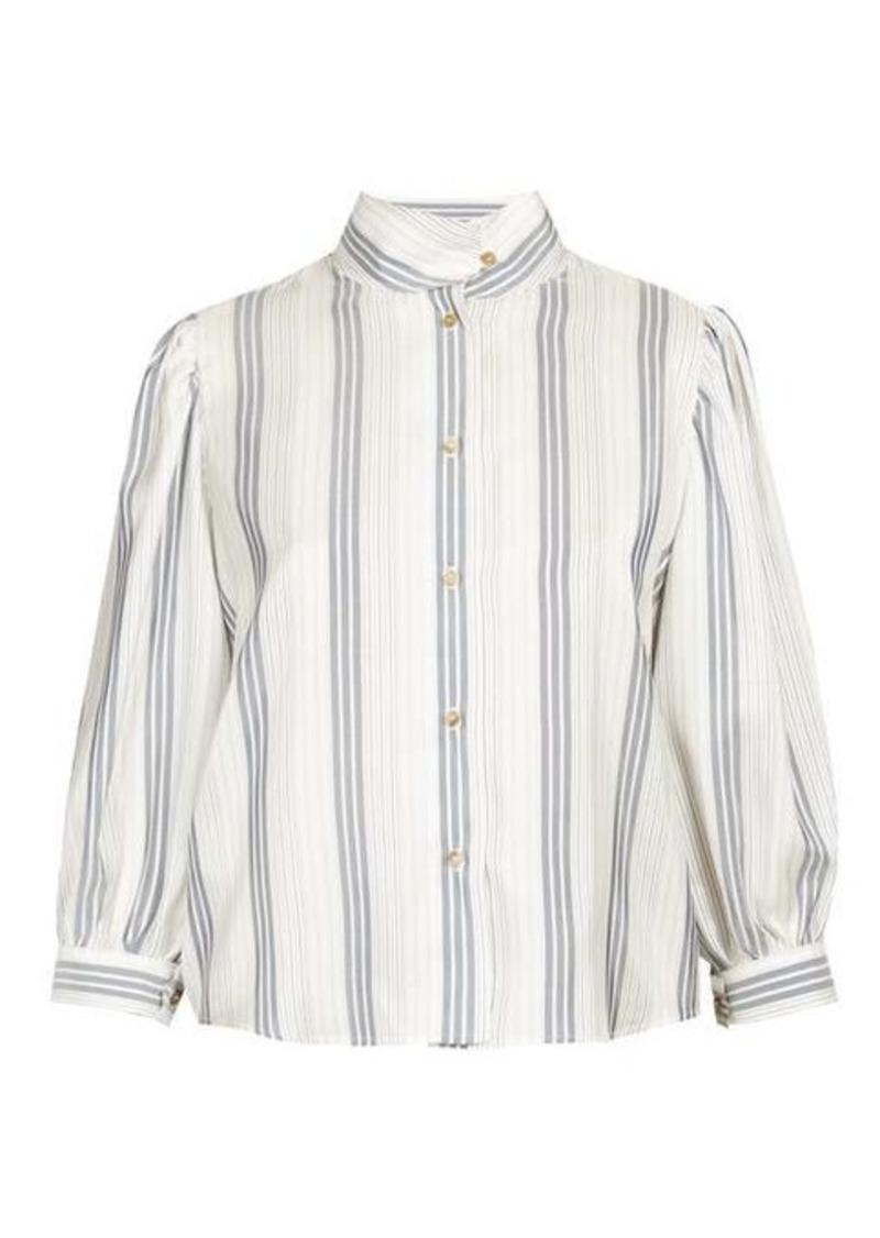 Loewe High-neck striped poplin blouse