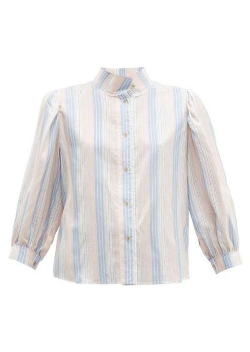 Loewe High-neck striped silk-satin blouse