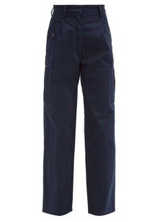Loewe High-rise cotton-twill cargo trousers