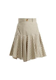 Loewe High-rise striped fluted-hem skirt