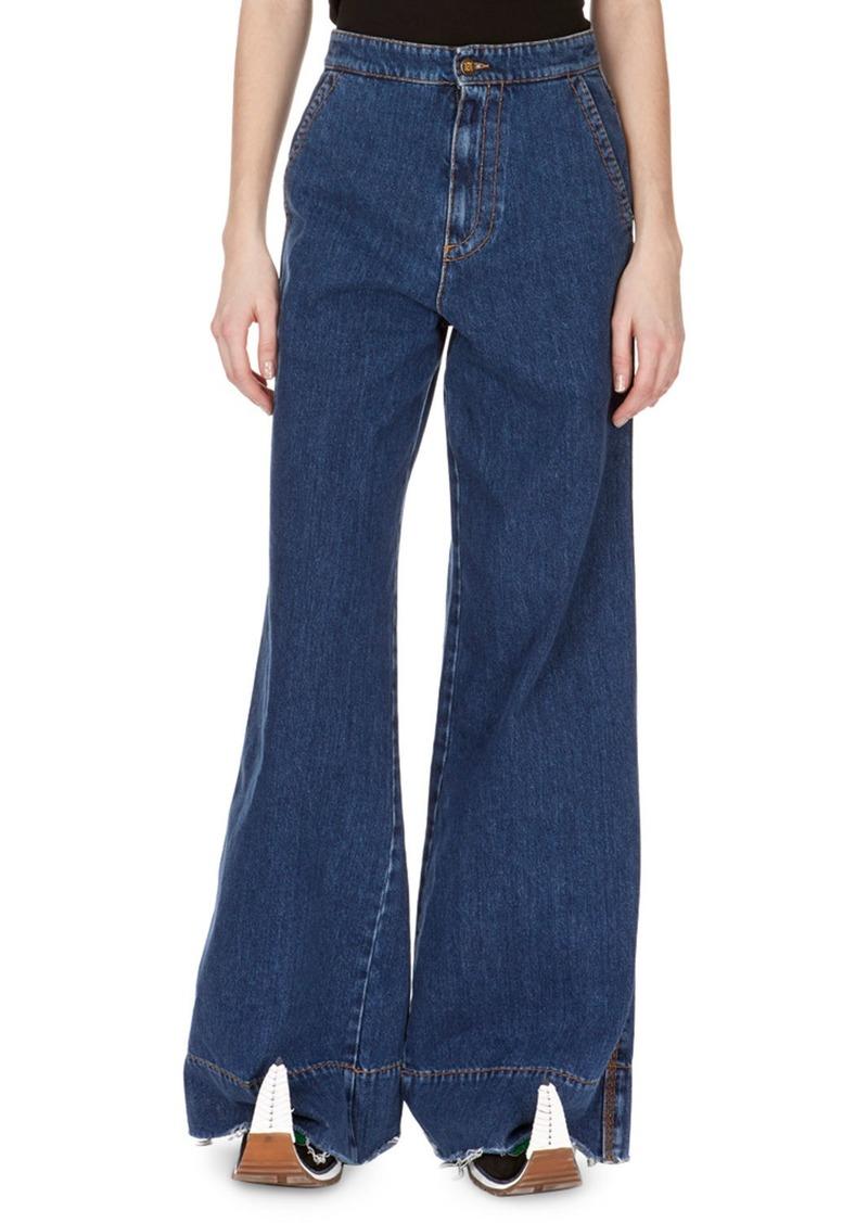 Loewe High-Waist Oversized Flare-Leg Jeans