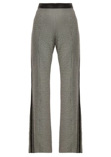 Loewe Houndstooth leather-trim trousers