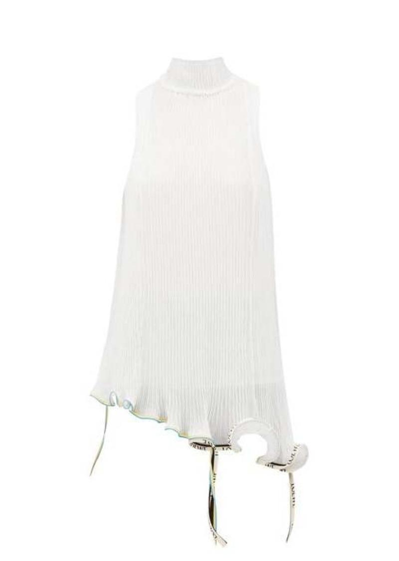 Loewe Jellyfish asymmetric plissé-chiffon top